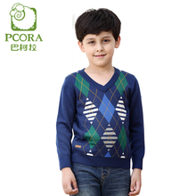PCORA Boys Sweater V Neck Wool Sweater Kids Boys Plaid Pattern Blue Red Knit Pullover Baby Size 4T to 14T Male Child Sweaters(China)