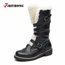 Buy Fashion Genuine Leather Plush Snow Boots Women Mid-Calf Slip-Resistant Boots Lambswool Female Cotton-Padded Shoes Warm Winter for $53.11 in AliExpress store