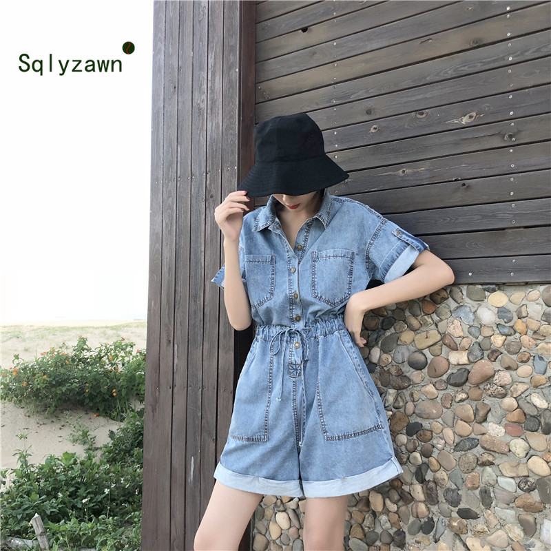 2019 Summer Denim Short Jumpsuit Women Short Sleeve Turn Down Collar Loose Playsuits Shorts Jeans Rompers with Belt Streetwear