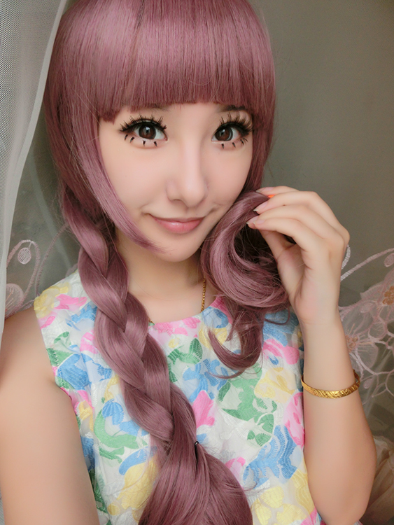 Lolita Style Pure Colocasia Color Neat Bang 70cm Long Wavy Curly Cosplay Wig Party Wigs Weaving perruque Natural Synthetic Hair<br><br>Aliexpress