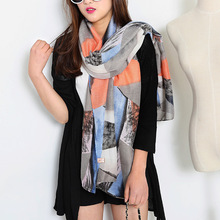 Europe and the United States air triangular geometry printing large shawl Twill cotton summer women scarf