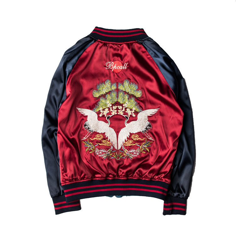 2017 New Mens Hoodie Embroidery Jacket Zip Sweatshirt Dragon Tiger Flame M-XXL