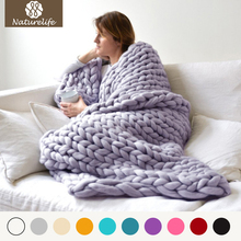Thick Yarn Merino Wool Blanket Bulky Knitted Blankets Soft Autumn and Winter Warm Hand Chunky Knitting Sofa Throw Drop Shipping(China)