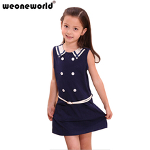 WEONEWORLD 2017 Girl Dress School Uniform Style Girl Clothes 2color Red&royal Blue Available Kids Clothes/Children Wear Summer