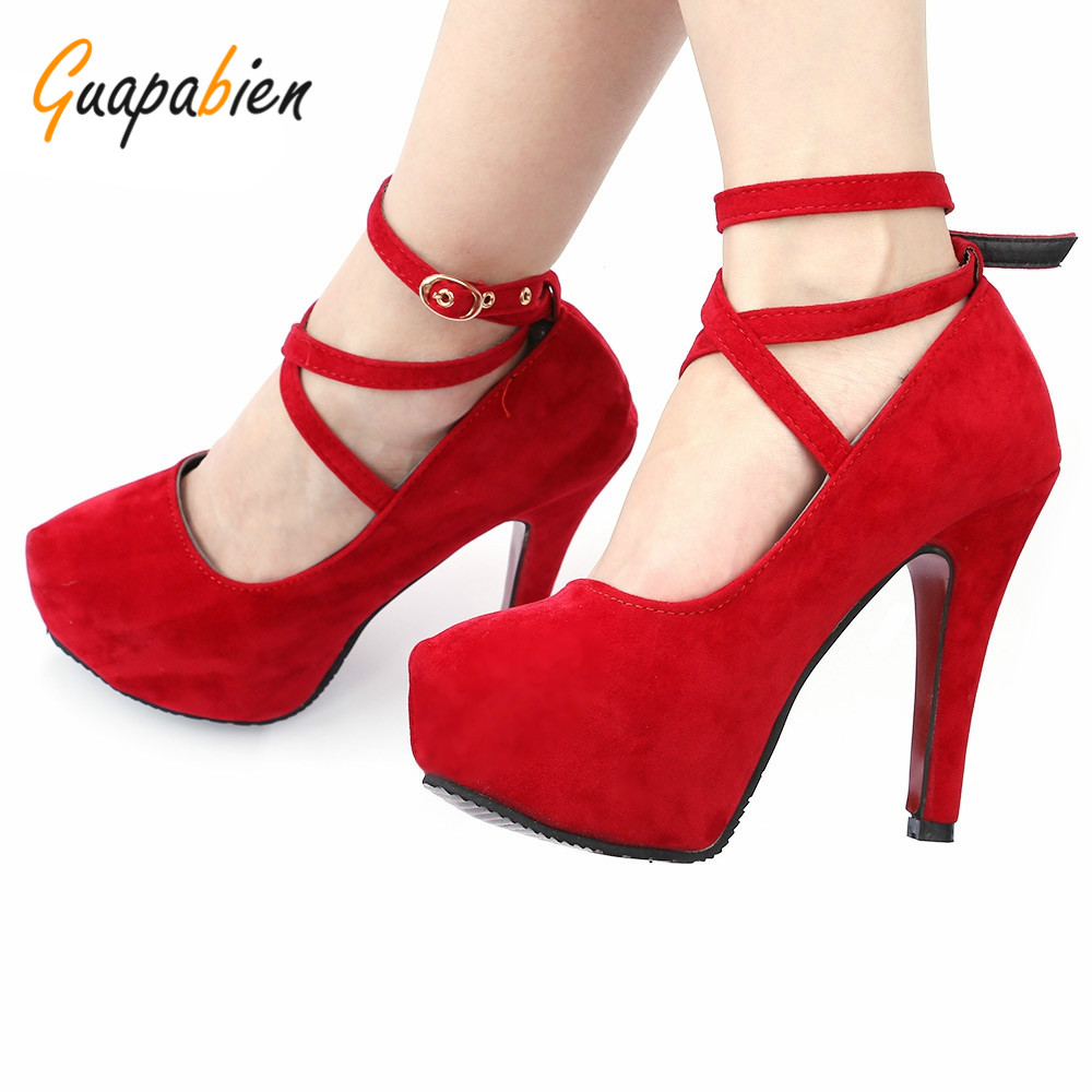 Guapabien 2017 Spring Elegant Office Career Ladies Stiletto Heel Suede Shoes Cross Ankle Strap Round Toe Shoes Thin Heels Pumps<br><br>Aliexpress