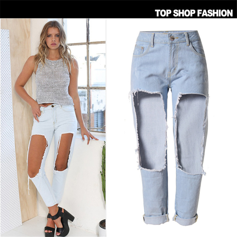 New Women Jeans Ripped Holes Fashion Straight Mid Waist Famale Washed Denim Pants Cotton TrousersОдежда и ак�е��уары<br><br><br>Aliexpress