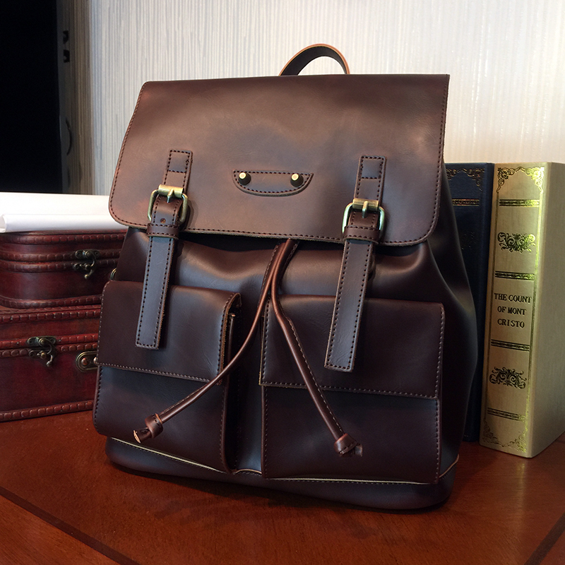 ETONWEAG Brand Cow Leather Backpack Women Brown Vintage School Bags For Teenagers Fashion Casual Travel Backpacks Back To School<br>
