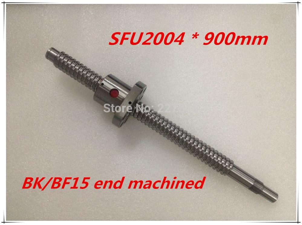 SFU2004 900mm Ball Screw Set : 1 pc ball screw RM2004 900mm+1pc SFU2004 ball nut cnc part standard end machined for BK/BF15<br>