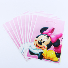 20pcs/lot Minnie Gift Bag Party Decoration Plastic Candy Bag Loot Bag For Kids Birthday/Festival Party Supplies