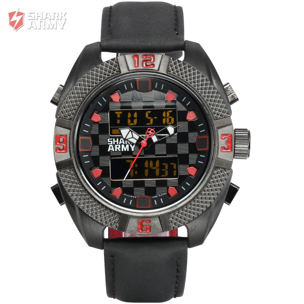 Shark Army Chronograph Tough Black Case Leather Band Dual Time Zone Alarm Day Date LCD Display Man New Watch Gift Box / SAW167<br>