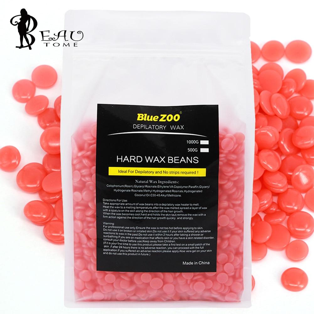 Strawberry Taste Hard Wax Beans Hair Removal Cream 1000g Epilator Paraffin Epilation Pellet Flawless whole body Depilatory Wax<br>