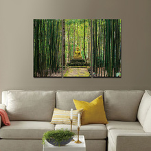 Modern Canvas Wall Art Pictures 3 Panels Framed Artwork Paintings Buddha Green Bamboo Stones Zen Prints and Posters Painting(China)