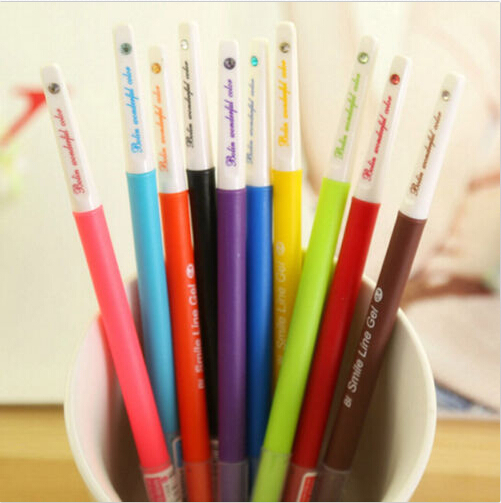 10PCS New High Quality Korean Stationery  Cute Gel Pen Black Ink Diamond Color Candy Color Watercolor Pen