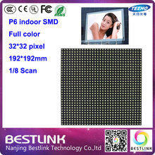 10pcs p6 indoor full color led display module 32*32 PIXEL 1/8S SMD indoor led advertising led video curtain billboard electronic