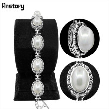 Anstory Oval Pearl Bead Bracelet Vintage Tibetan Alloy Double Layer Flower Antique Silver Plated Jewelry For Woman TB271