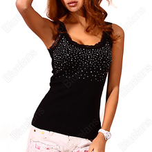 Hot Sexy Women's Rhinestone Lace Stunning Based Sleeveless Vest Tank Top Tee T-Shirt Black White  0JPC