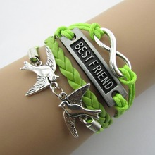 Bracelet Passwords More Fashion Beautiful Hand Knitting Leather Cord 4 Christmas Bracelets For Women Jewelry   B061 B5 ABC