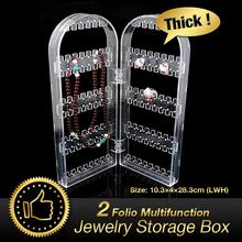 2 Folio Foldable 120 Storage Holder jewelry Box Earrings Display Stand Ring Organizer Boxes Clear Acrylic Bins EQC375 YCDC(China)