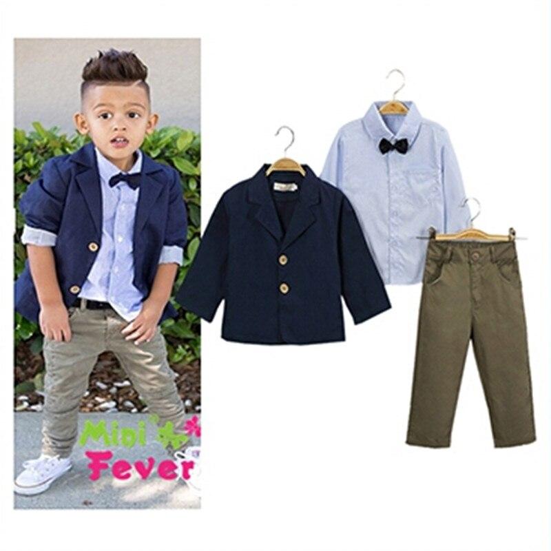 2017 Autumn new children boys fashion clothing set baby boys Casual suit bow shirt + suit + Jeans boys European style clothes<br><br>Aliexpress