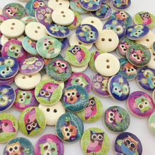 10/50/100pcs Mixed Owl Pattern Wooden Buttons Fit Sewing and Scrapbook 15mm WB03