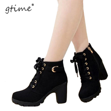 GTIME  Women Boots High Quality Solid Lace-up  European Ladies PU Leather Shoes Fashion  Boots Women #ZH36