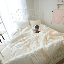 Korean Princess Style Washed Cotton Lace Lace Design Duvet Cover Bed Sheet Set White/Gray/Pink/Green/Blue Bedding Set(China)