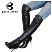 BONJOMARISA Big size 34-47 knee thigh high boots women high heel platform shoes PU patent leather brand sexy Woman boots