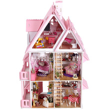 3D DIY Doll House Resin Villa Furniture Kit Mini Miniature Dollhouse Toy Model Building Kit LED Light Child Kids Birthday Gifts(China)