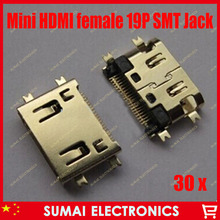 30pcs mini HDMI 19pin female plug socket jack connector,4 foot SMT and sink board for HD TV Interface ETC free shipping