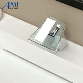 Bathroom sink basin mixer tap chromed brass glass waterfall Faucet BF-25