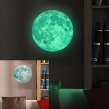 30cm Large Moon Glow in the Dark Luminous DIY Wall Sticker Living Home Decor Adesivo De Parede Vinilos Paredes Stickers Muraux(China)