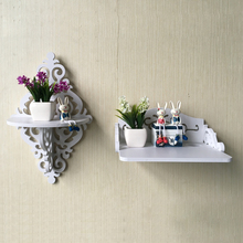 White Wall Hanging Shelf  Vintage Decor Floral White Wood Wall Corner Rack Storage Shelf Corner Rack Storage Shelf  Corner Rack