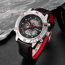 OHSEN brand digital quartz sport watch wristwatches mens boys leather band fashion Red waterproof outdoor hand watch hours Gift