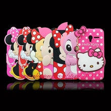 Cute 3D Silicon Minnie Stitch Hello Kitty Cartoon Soft Phone Back Cover Case for Alcatel One Touch Pixi 3 4.5 inch OT 4027 5017