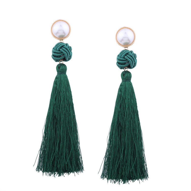 Trendry Earrings for Women Vintage Bohemian Fashion Weave Tassel Earrings Long Drop Earrings Jewelry for gift Brincos J05#N (9)