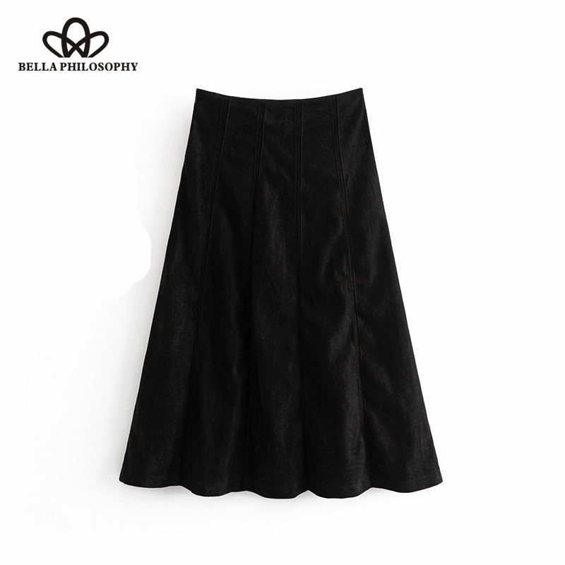 Wonder 2018 new Vintage Piping Detail Faux Suede Midi Skirt  A Line Side Zipper Streetwear Ladies Skirts Casual Faldas Mujer