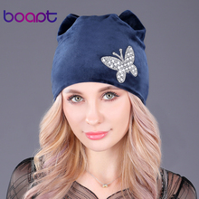 [boapt] flannel velvet double-deck winter warm hat female skullies diamond butterfly cap women's winter hats cat ears beanie(China)