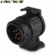 13 To 7 Pin Plug Adapter Trailer 12V Towbar Towing Caravan Truck Cable Wiring Electrical Converter Plastic Connector Black Color