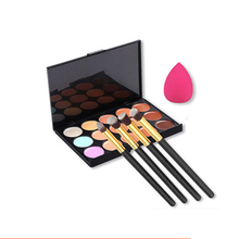 15 Color Contouring Makeup Kit Cream Based Professional Concealer Palette Face Make up Set Pro Palette +Puff+ makeup brushes(China)