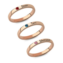 Mother's Stackable Engraved Name Rings With Birthstone Personalized Triple Ring Rose Gold Color