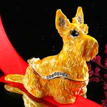 H&D 2.2'' Metal Dog Figurines Wedding Ring Trinket Box With Crystal Holder Earring Jewelry Storage Box Souvenirs Gift Home Decor(China)