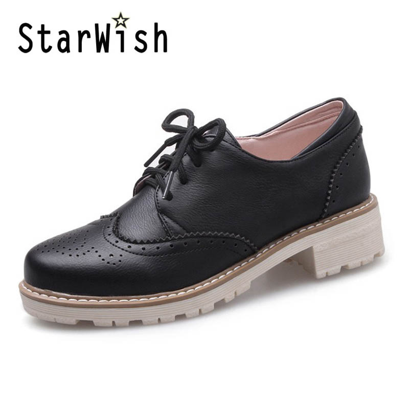 2017 New Spring Womens White Oxfords Shoes Carving British Style Casual Shoes Flat Platform Lace-up Brogue Shoes Size 33-43 D48<br><br>Aliexpress
