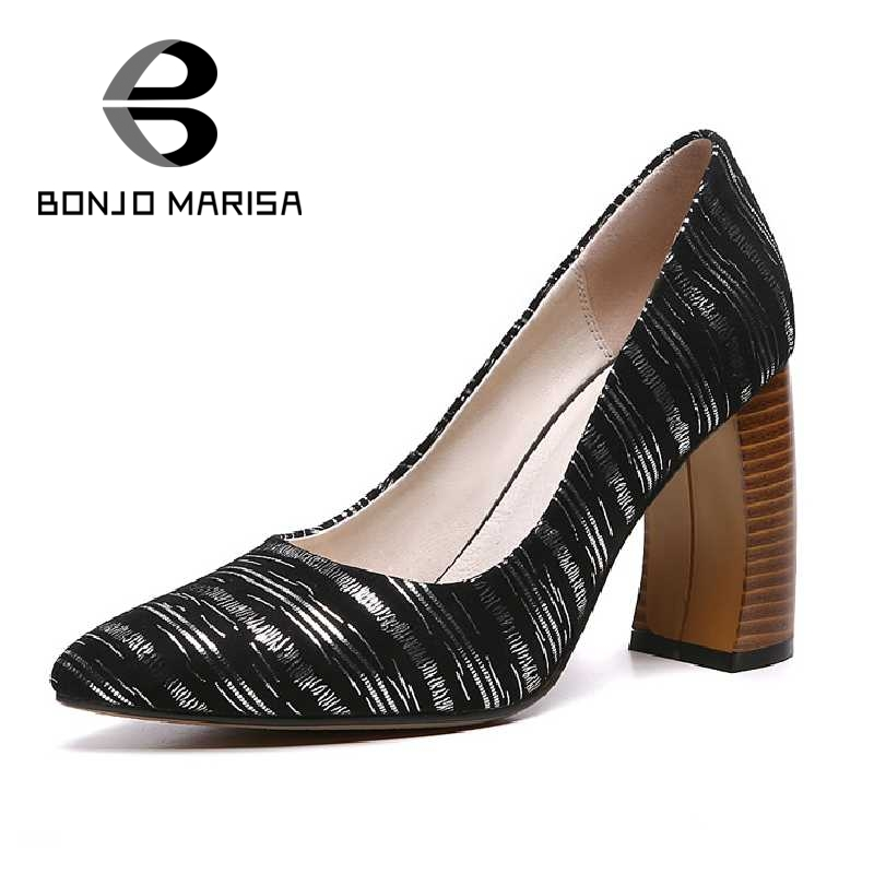 BONJOMARISA Size 34-39 Women Gladiator Chunky High Heels Party Wedding Shoes Genuine Leather Pointed Toe Less Platform Pumps<br><br>Aliexpress