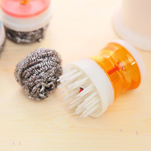 MultiFunction  Add Detergent Creative Stainless steel+pp Belt cleaning ball Xiguo bowl dish brush kitchen Accessories  tools