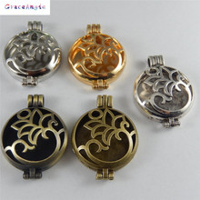 4pcsTop Wishes Locket Annulus Pendant Necklace Fragrance Essential Oil Diffuser Unisex Charms Jewelry(China)
