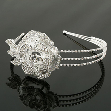 Classic Crystal Flower Prom Queen Crown Rhinestone Wedding Pageant Tiara Bride Hairband Bridal Hair Accessories