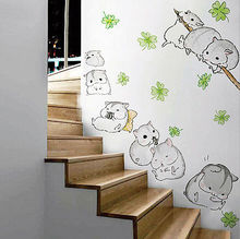 2017 Kids Decal Vinyl DIY Home Room Decor little hamster Cute Cartoon corridor Art Wall Stickers Baby Bedroom Removable