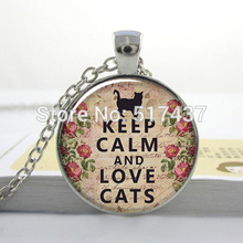 HZ--A227 Keep Calm and Love Cats pendant, Keep Calm necklace charm, Cat lover jewelry, Cat jewellry HZ1