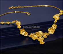 Solid 999 24K Yellow Gold Necklace / Flowers Shape Link Chain Necklace / 23.5g(China)