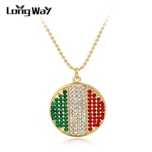 LongWay Glass Cabochon Dome Jewelry Crystal Italy Flag Necklace Handcrafted Gold Color Beads Jewelry Long Necklace Sne150880103